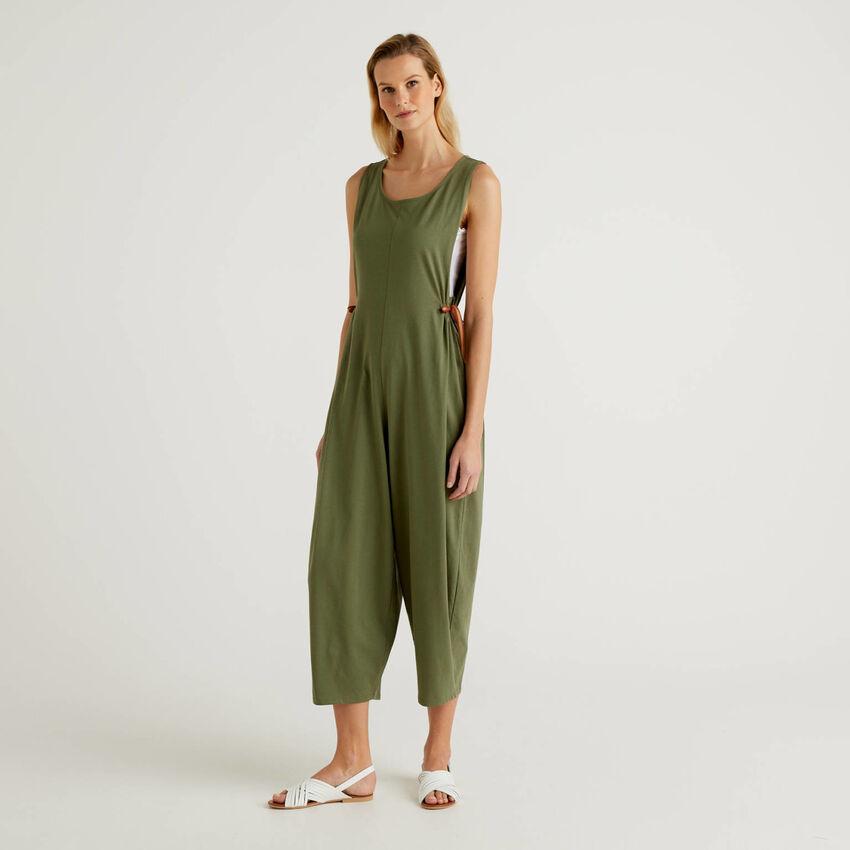 Oversized sleeveless jumpsuit