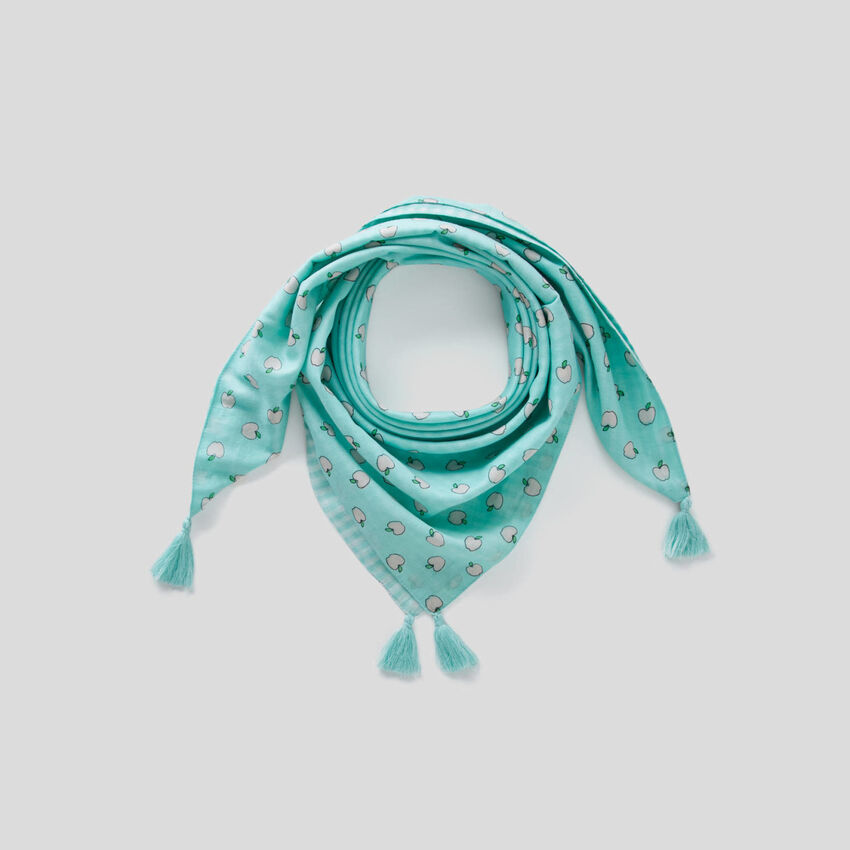 Double-face scarf with tassels