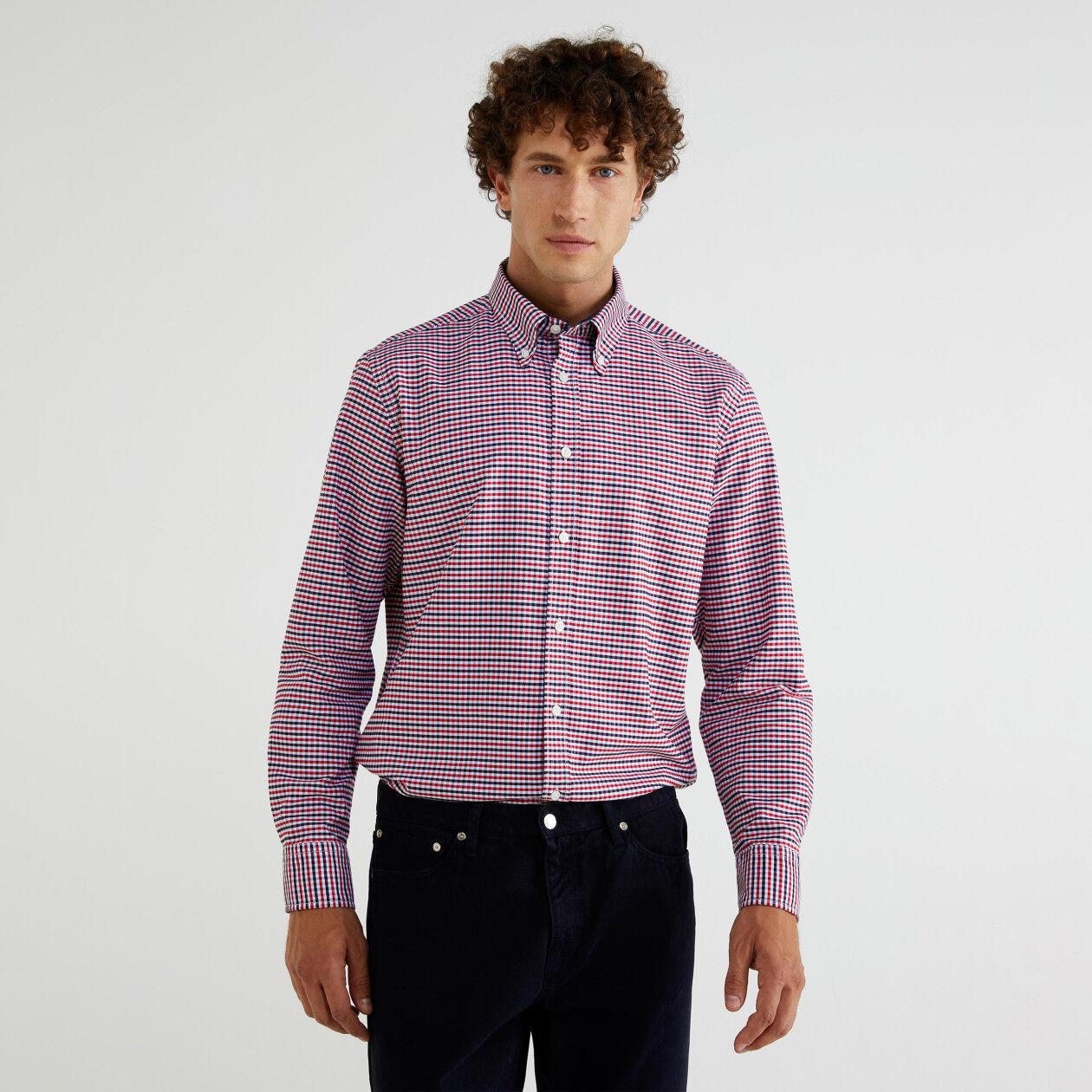 Check button-down shirt