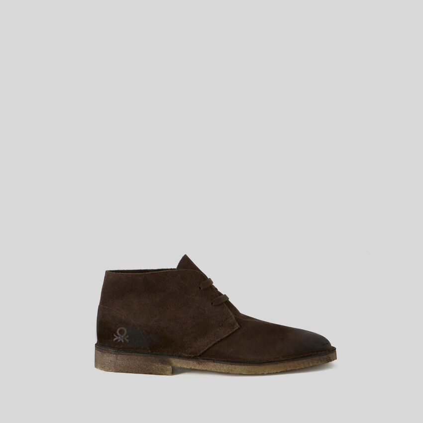 Low suede ankle boots