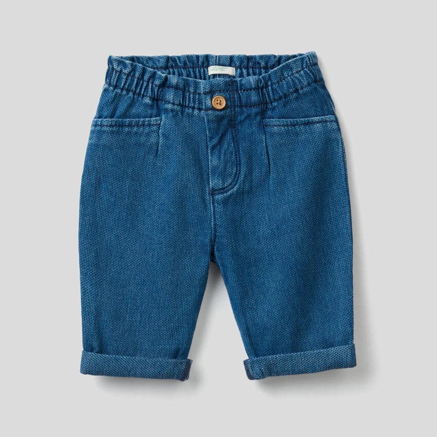 Denim cotton trousers