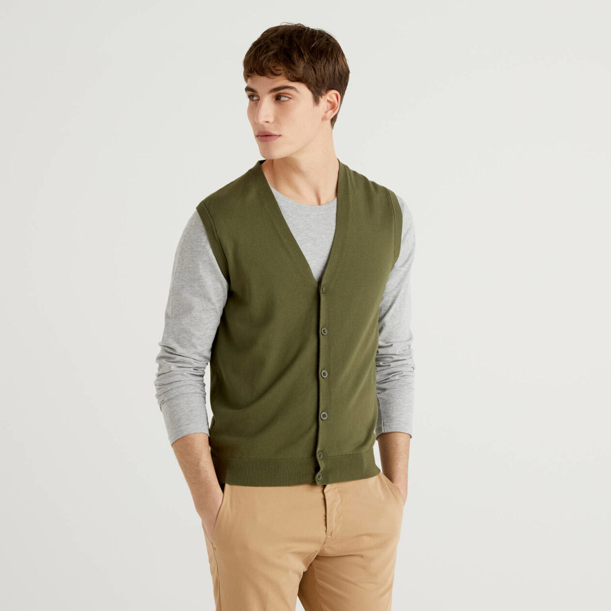 Pure cotton vest with buttons