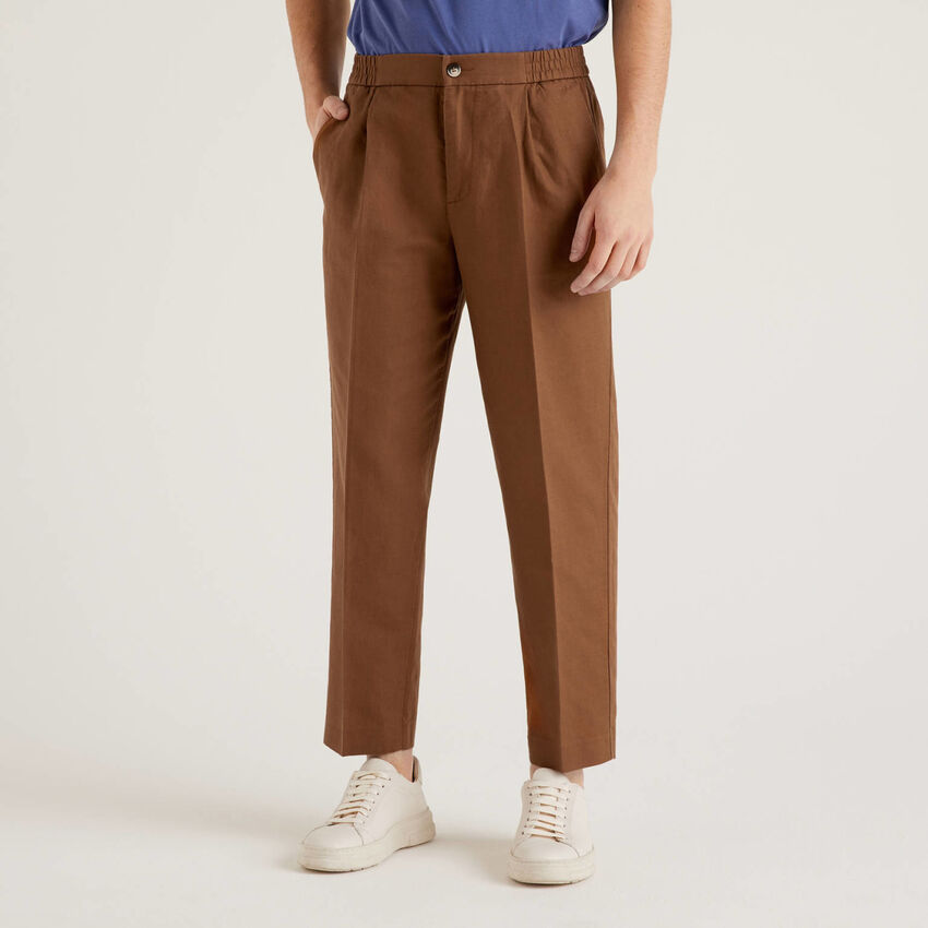 Linen blend trousers with elastic at waist