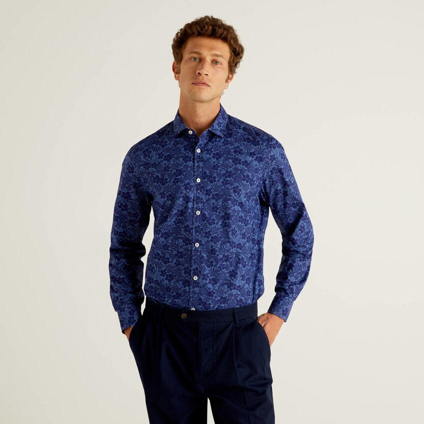 Patterned print slim fit shirt