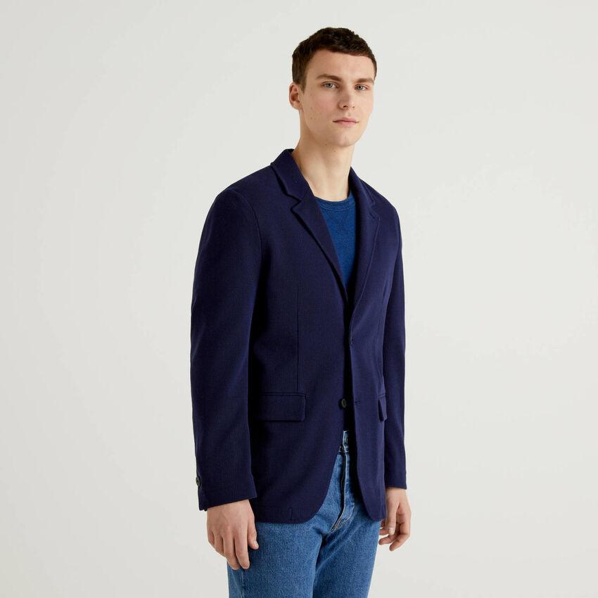Blazer in knit cotton blend